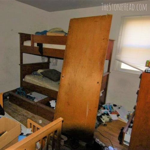 Flipping houses for a living is possible! Here's the fourth bedroom of one of our flips before we cleaned it all out!