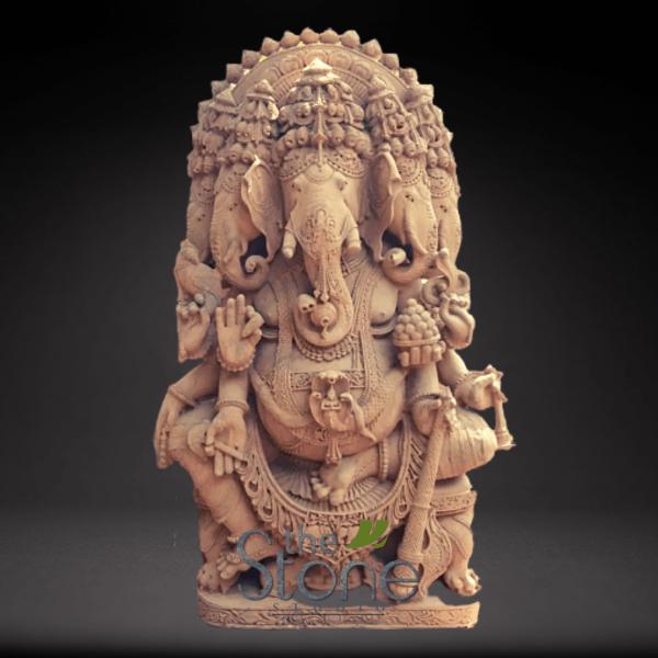 Five Headed Ganesh Sandstone Statue