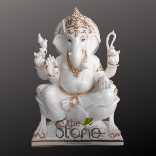 Ganesha Marble Statue in Sitting Position