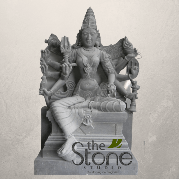 Durga Maa Sculpture In Sitting Position In Black Stone