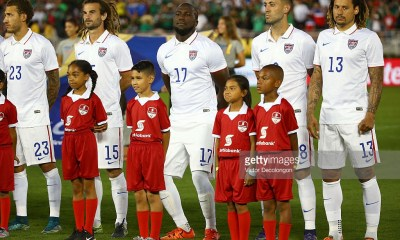 Fabian Johnson #23, Kyle Beckerman #15, Jozy Altidore #17, Clint Dempsey #8 and Jermaine Jones #13 of the United States stand for the playing of the national anthems prior to the 2017 FIFA Confederations Cup Qualifying match at Rose Bowl on October 10, 2015 in Pasadena, California. Mexico defeated the United States 3-2.
