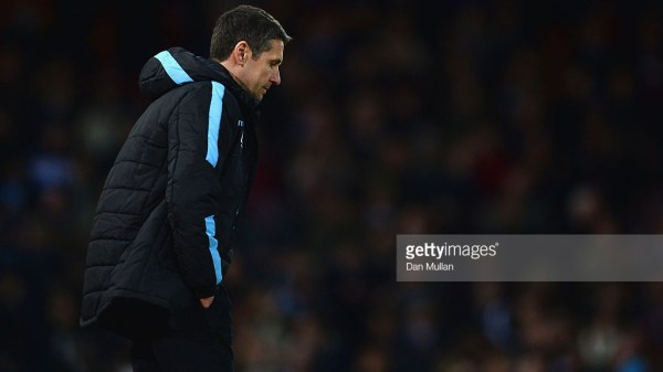 Remi Garde Manager of Aston Villa reacts after his team's defeat in the Barclays Premier League match between West Ham United and Aston Villa at the Boleyn Ground on February 2, 2016 in London, England.