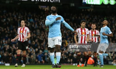 MANCHESTER, ENGLAND - DECEMBER 26: Wilfried Bony of Manchester City reacts after missing an attempt on goal during the Barclays Premier League match between Manchester City and Sunderland at the Etihad Stadium on December 26, 2015 in Manchester, England. (Photo by Jan Kruger/Getty Images)