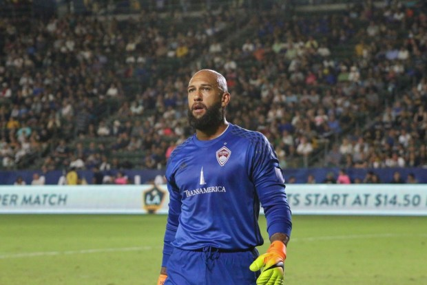 Tim Howard during 1-1 tie Saturday night against the LA Galaxy at StubHub Center. Photo taken by Jorge Galves for The Stoppage Time 8/13/16