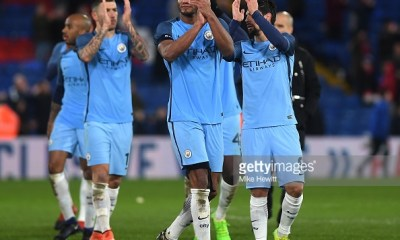 LONDON, ENGLAND - JANUARY 28: Manchester City players applaud supporters during the Emirates FA Cup Fourth Round match between Crystal Palace and Manchester City at Selhurst Park on January 28, 2017 in London, England. (Photo by Mike Hewitt/Getty Images)