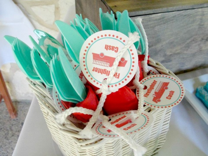 Fireman Birthday Party Utensil Wraps