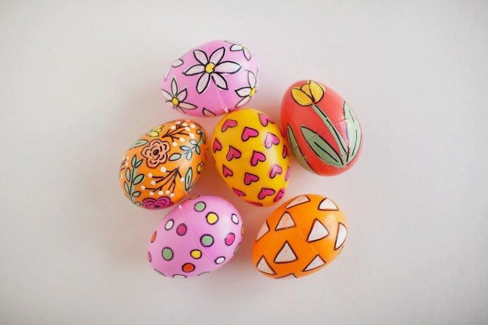 easter painted plastic eggs