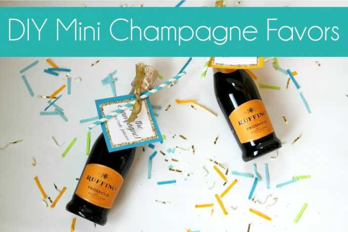 diy glitter mini champagne favors