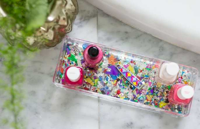 DIY Confetti Makeup Trays 6