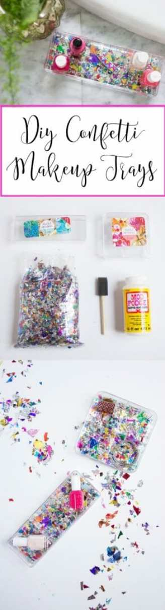 Great tutorial for DIY Confetti Makeup Trays