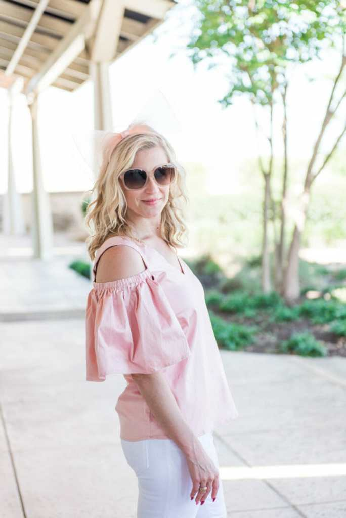 pink open shoulder blouse