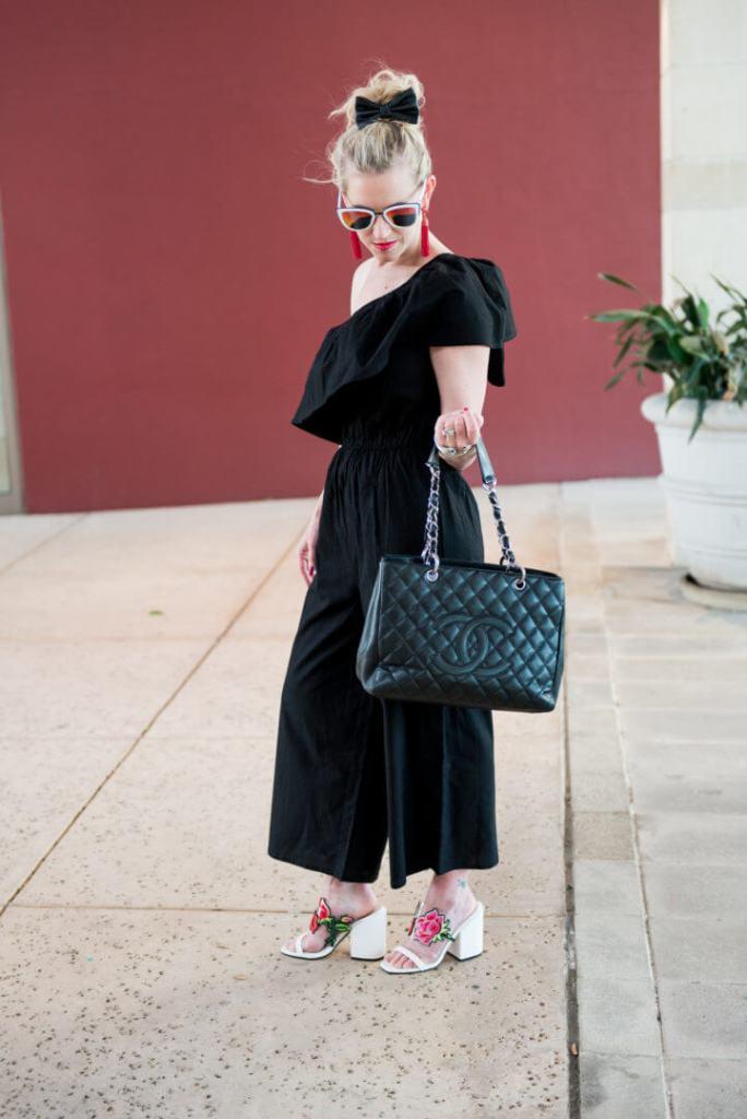 black cropped jumpsuit