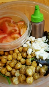 Office Salad with Roasted Chickpeas and Feta