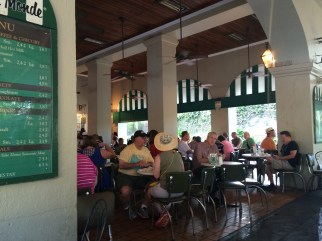 Cafe de Monde: this place is huge! But still go early because there is always a long line ... you can sit anywhere there's seats available.
