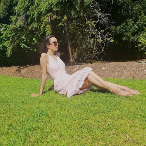 female body hair - woman in pink dress - The Style of Laura Jane