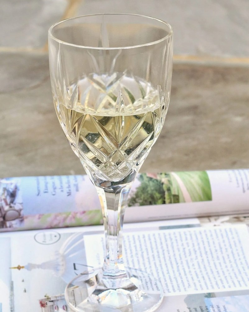 Image glass of white wine and travel magazine - blog post on how much guys should spend on a first date