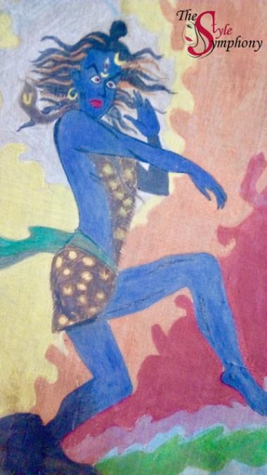 Lord Shiva painting the style symphony haiku