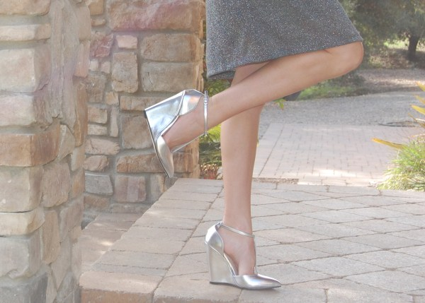 ASOS silver t-strap wedges