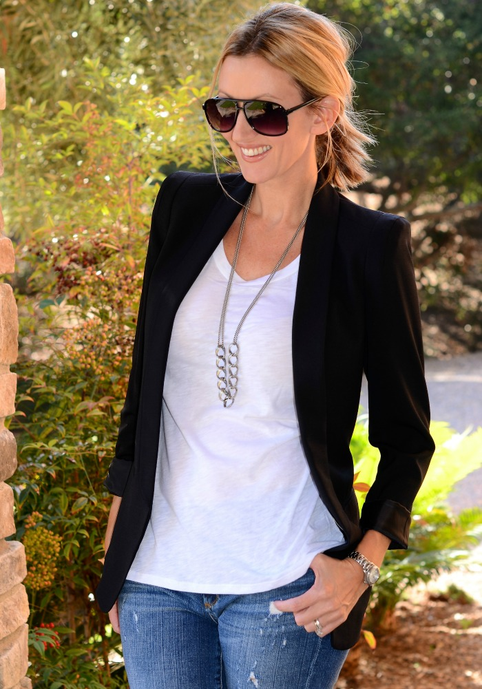 Black Blazer, White T-Shirt & Jeans