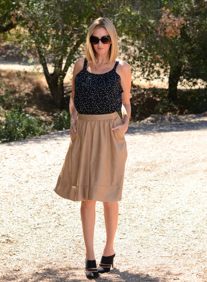 Camisole & Leather Skirt