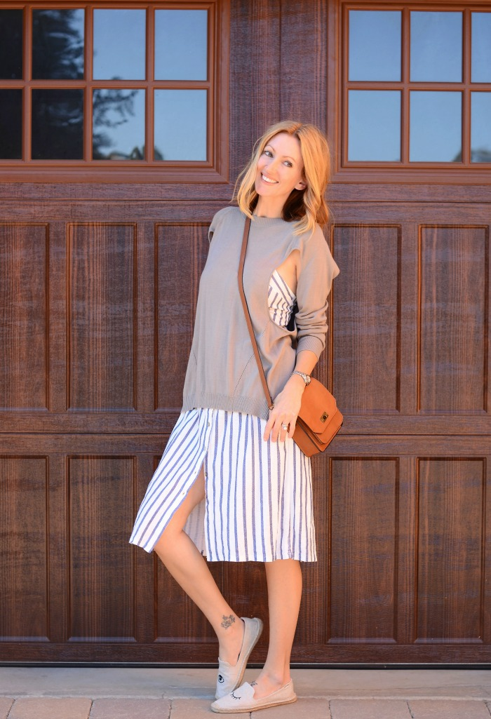 Zara Striped Spaghetti Strap Dress