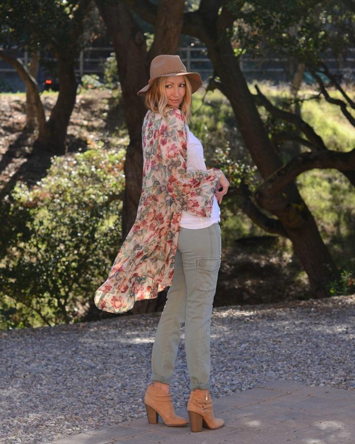 Floral Kimono Cargo Pants