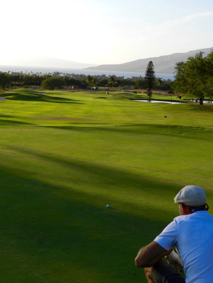 Lining Up a Clutch Putt at Maui Nui Golf Course