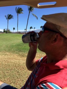 Phil Enjoys Maui Brewing Company Beer in the Golf Cart