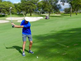 Phil Takes Approach Shot on Wailea Emerald Course