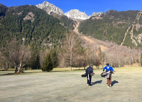 Walking to Our First Tee in Chamonix Xmas Comp