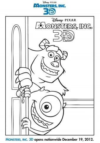 Monsters Inc Coloring Sheet Disney Pixar