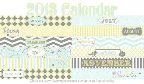 Free 2013 Printable Calendar Blooming Homestead