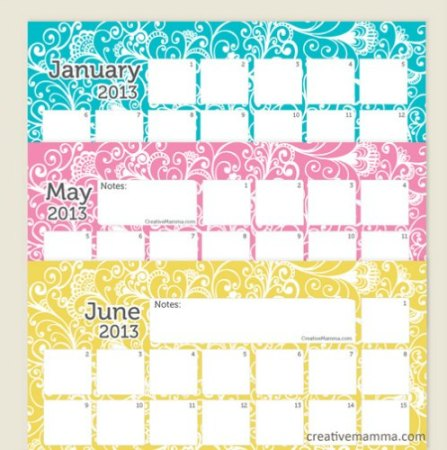 Free 2013 Printable Calendar Creative Mamma