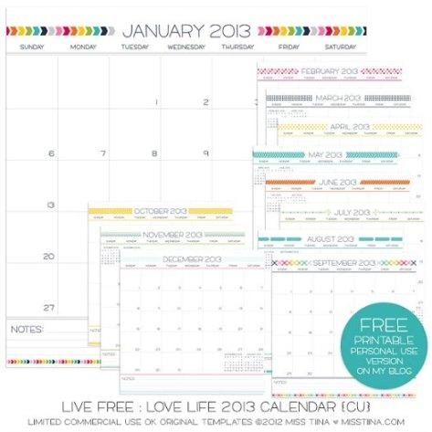 Free 2013 Printable Calendar Miss Tina