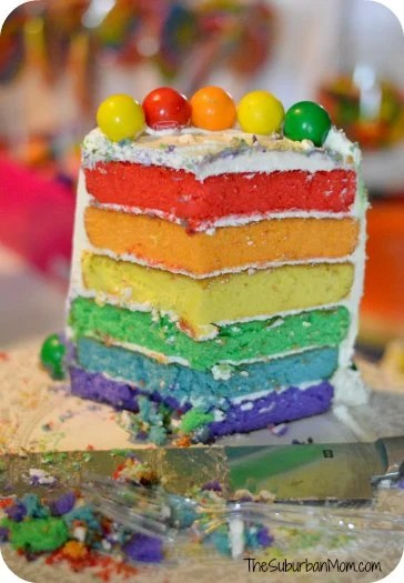 Rainbow Birthday Party Cake Colored Layers Slice