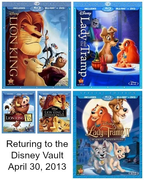 Disney The Lion King Lady and the Tramp Returning to Vault