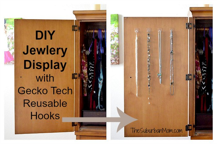 DIY Jewelry Display Gecko Tech Reusable Hooks