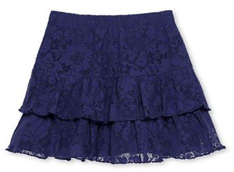 Navy Blue Lace Skirt Girls