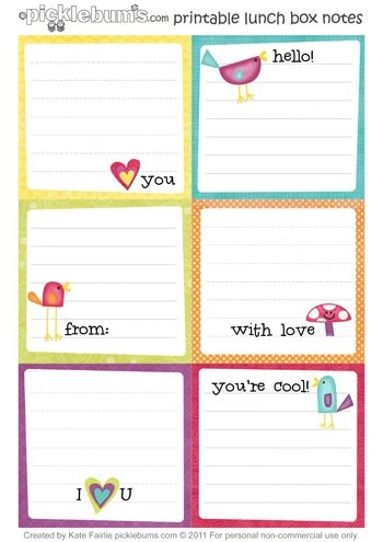 printbale-lunch box notes