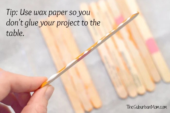 Popsicle Stick Craft Tip Wax Paper