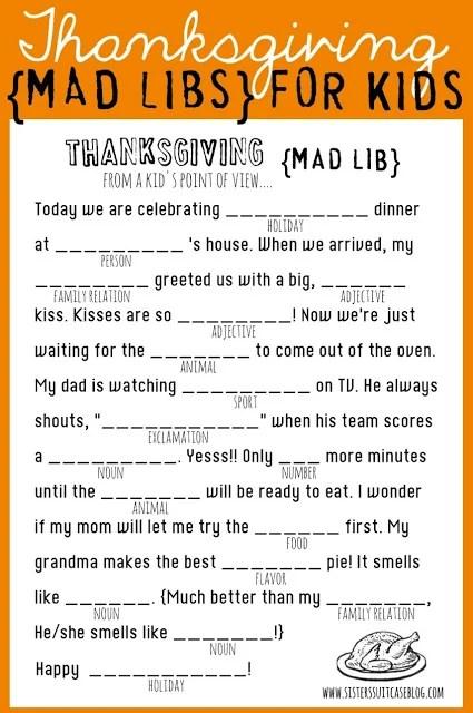 Thanksgiving Mad Lib Kids