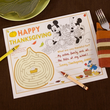 Thanksgiving Mickey Placemat Printable
