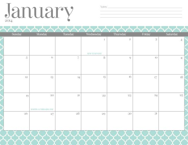 2014 Calendar Monthly Free Printable