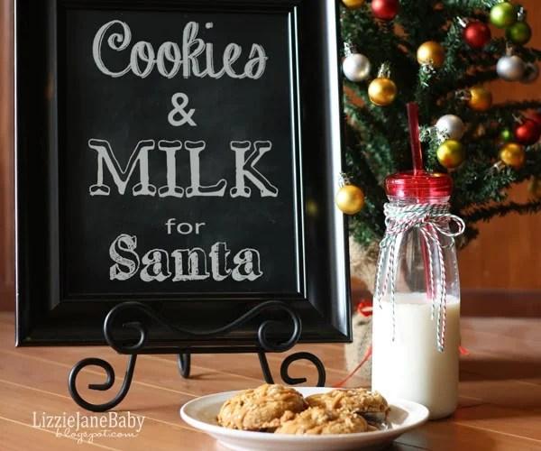 Cookies & Milk Santa Free Printable
