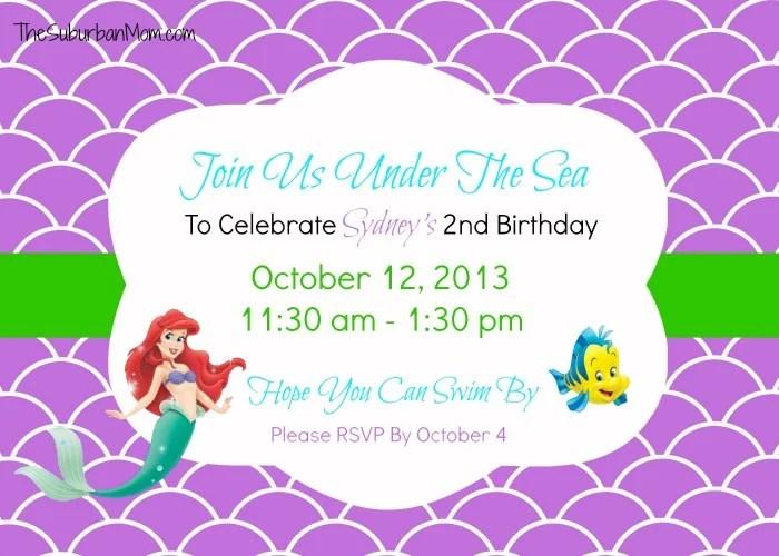 Little Memaid Ariel Birthday Invitation