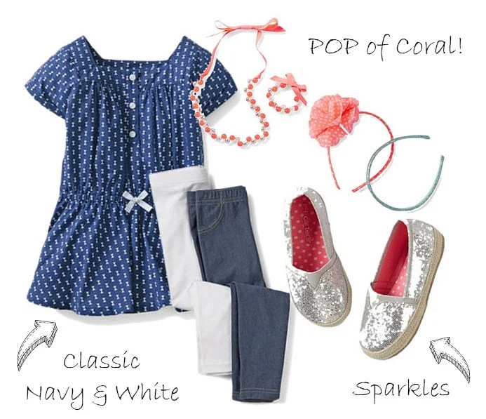 Spring Navy White Coral Carters Girls