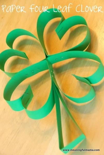 Paper Four Leaf Clover St. Patricks Day Craft