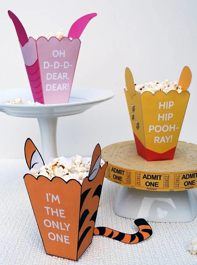 Winnie the Pooh Printable Craft Popcorn box