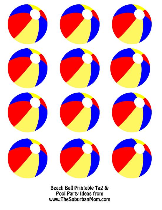 Beach Ball Printable Tags