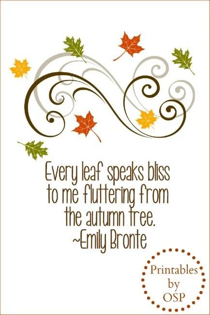 Autumn Quote Free Printable Emily Bronte